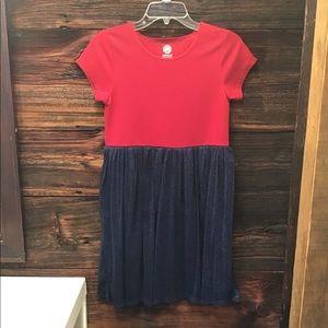 WonderNation Red Ottoman Dress Blue Tulle Skirt XL